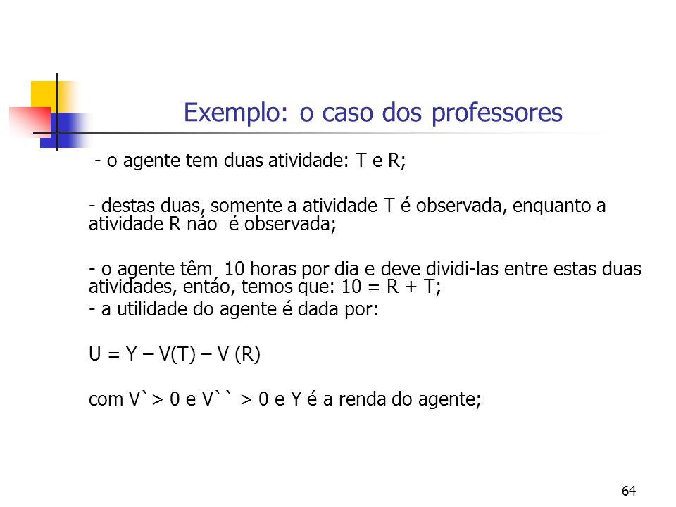 64 Exemplo: o caso dos professores - o agente tem duas atividade: T e R; - destas duas, somente a atividade T é observada, enquanto a atividade R náo é observada; - o agente têm 10 horas por dia e deve dividi-las entre estas duas atividades, entáo, temos que: 10 = R + T; - a utilidade do agente é dada por: U = Y – V(T) – V (R) com V`> 0 e V`` > 0 e Y é a renda do agente;