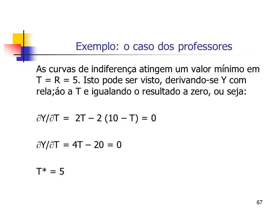 67 Exemplo: o caso dos professores As curvas de indiferença atingem um valor mínimo em T = R = 5.