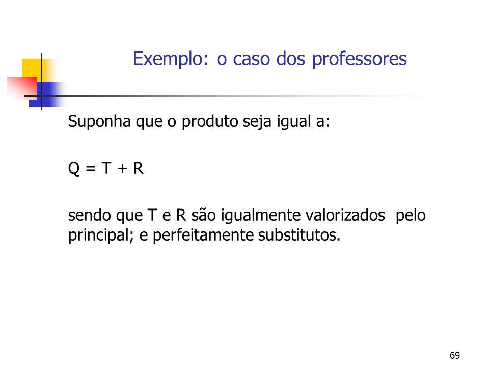69 Exemplo: o caso dos professores Suponha que o produto seja igual a: Q = T + R sendo que T e R são igualmente valorizados pelo principal; e perfeitamente substitutos.