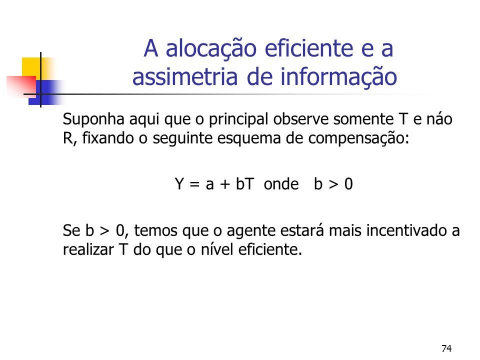 74 A alocação eficiente e a assimetria de informação Suponha aqui que o principal observe somente T e náo R, fixando o seguinte esquema de compensação: Y = a + bT onde b > 0 Se b > 0, temos que o agente estará mais incentivado a realizar T do que o nível eficiente.