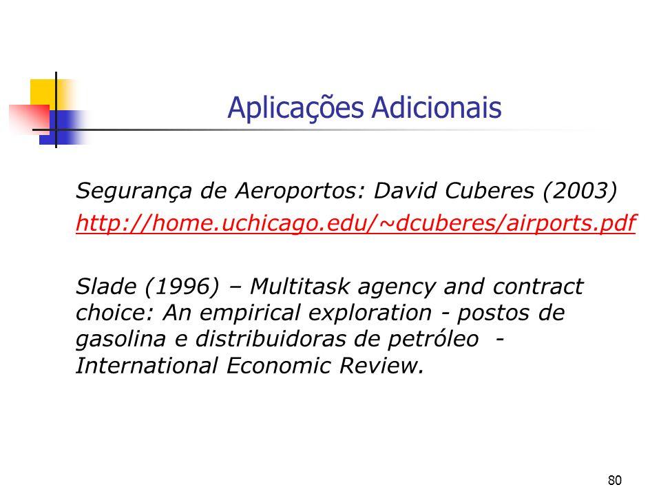 80 Aplicações Adicionais Segurança de Aeroportos: David Cuberes (2003) http://home.uchicago.edu/~dcuberes/airports.pdf Slade (1996) – Multitask agency