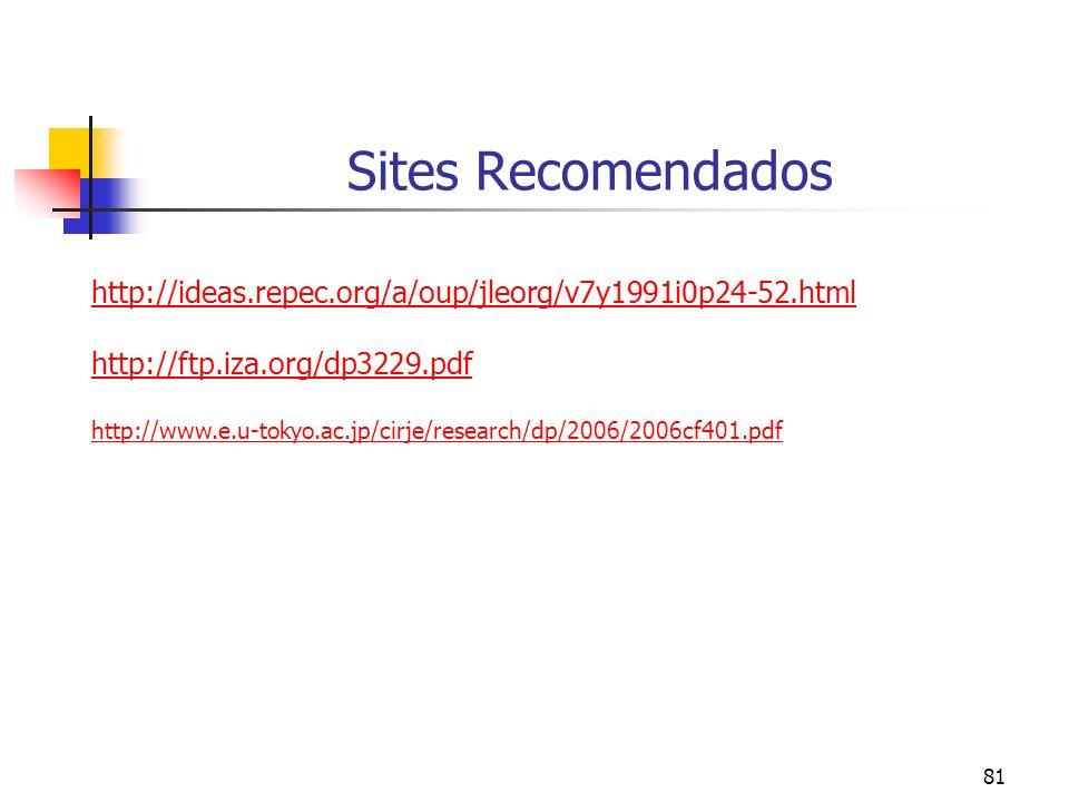 81 Sites Recomendados http://ideas.repec.org/a/oup/jleorg/v7y1991i0p24-52.html http://ftp.iza.org/dp3229.pdf http://www.e.u-tokyo.ac.jp/cirje/research/dp/2006/2006cf401.pdf