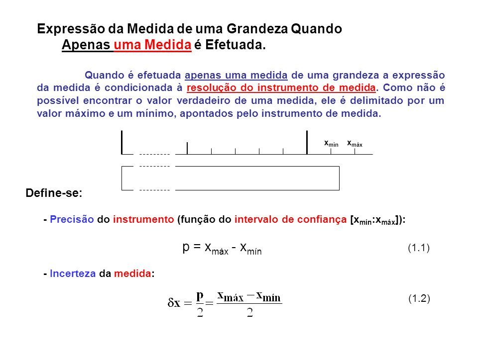 Existe uma probabilidade muito grande de que o valor verdadeiro esteja entre x mín e x máx.