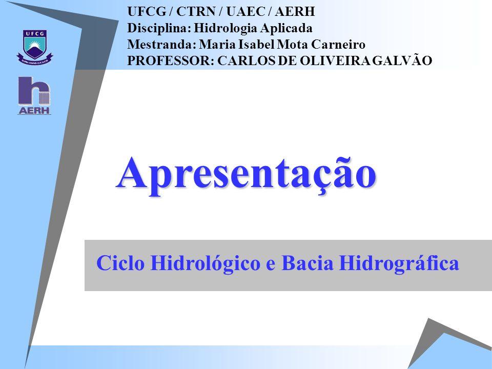 Apresentação UFCG / CTRN / UAEC / AERH Disciplina: Hidrologia Aplicada Mestranda: Maria Isabel Mota Carneiro PROFESSOR: CARLOS DE OLIVEIRA GALVÃO Cicl