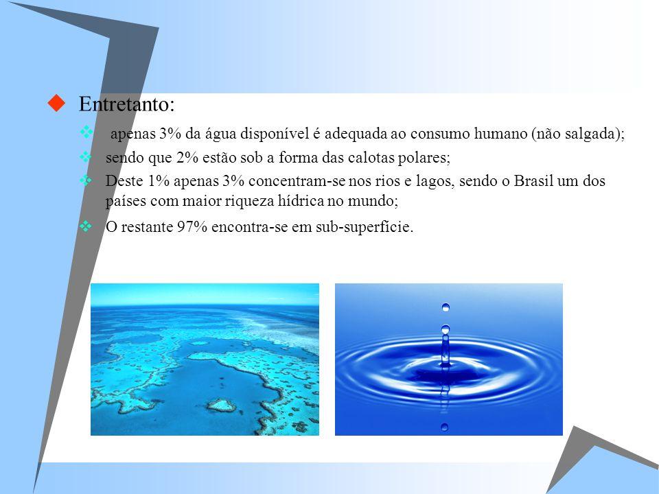 Entretanto: apenas 3% da água disponível é adequada ao consumo humano (não salgada); sendo que 2% estão sob a forma das calotas polares; Deste 1% apen