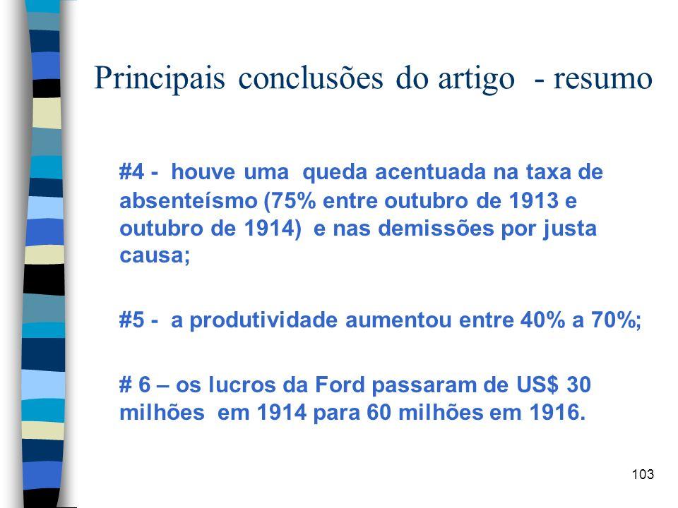 103 Principais conclusões do artigo - resumo #4 - houve uma queda acentuada na taxa de absenteísmo (75% entre outubro de 1913 e outubro de 1914) e nas