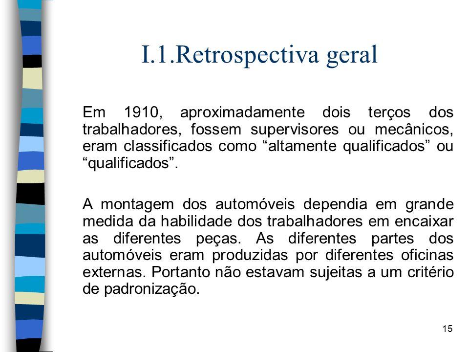15 I.1.Retrospectiva geral Em 1910, aproximadamente dois terços dos trabalhadores, fossem supervisores ou mecânicos, eram classificados como altamente