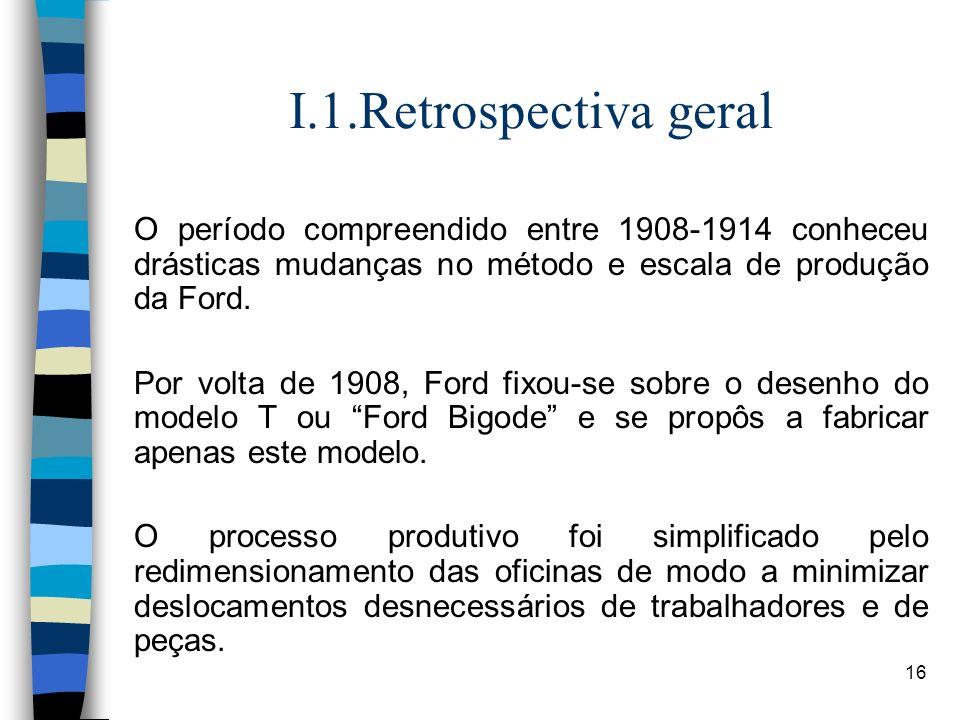 16 I.1.Retrospectiva geral O período compreendido entre 1908-1914 conheceu drásticas mudanças no método e escala de produção da Ford. Por volta de 190