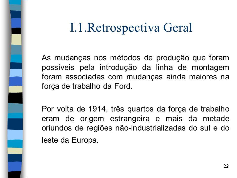 22 I.1.Retrospectiva Geral As mudanças nos métodos de produção que foram possíveis pela introdução da linha de montagem foram associadas com mudanças