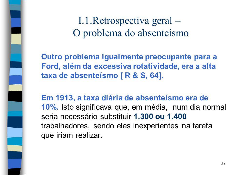 27 I.1.Retrospectiva geral – O problema do absenteísmo Outro problema igualmente preocupante para a Ford, além da excessiva rotatividade, era a alta t