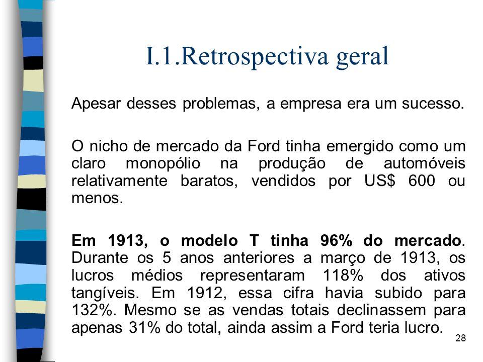 28 I.1.Retrospectiva geral Apesar desses problemas, a empresa era um sucesso. O nicho de mercado da Ford tinha emergido como um claro monopólio na pro