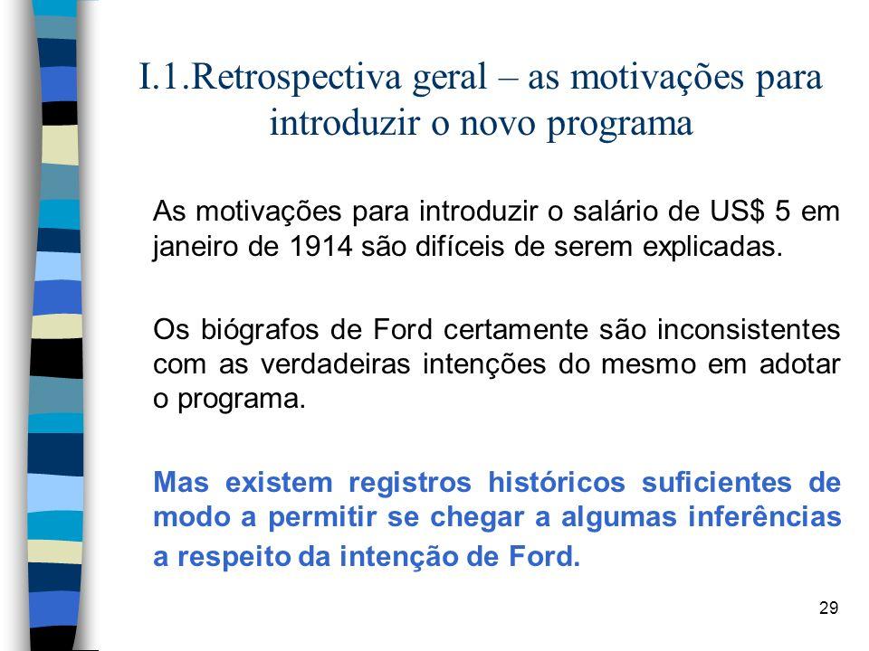 29 I.1.Retrospectiva geral – as motivações para introduzir o novo programa As motivações para introduzir o salário de US$ 5 em janeiro de 1914 são dif