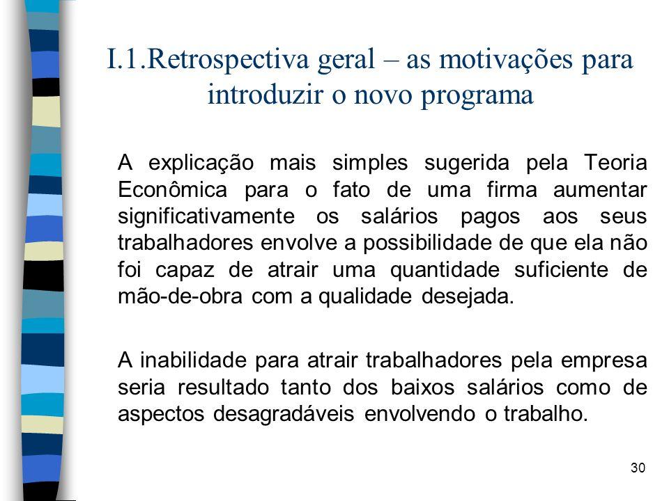 30 I.1.Retrospectiva geral – as motivações para introduzir o novo programa A explicação mais simples sugerida pela Teoria Econômica para o fato de uma