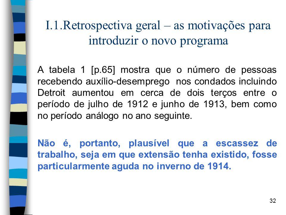 32 I.1.Retrospectiva geral – as motivações para introduzir o novo programa A tabela 1 [p.65] mostra que o número de pessoas recebendo auxílio-desempre