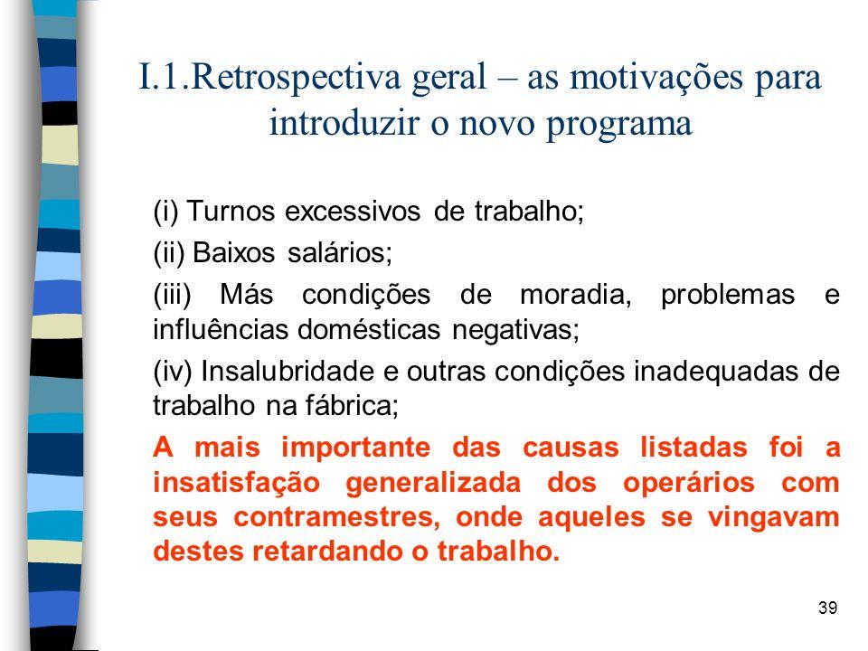 39 I.1.Retrospectiva geral – as motivações para introduzir o novo programa (i) Turnos excessivos de trabalho; (ii) Baixos salários; (iii) Más condiçõe