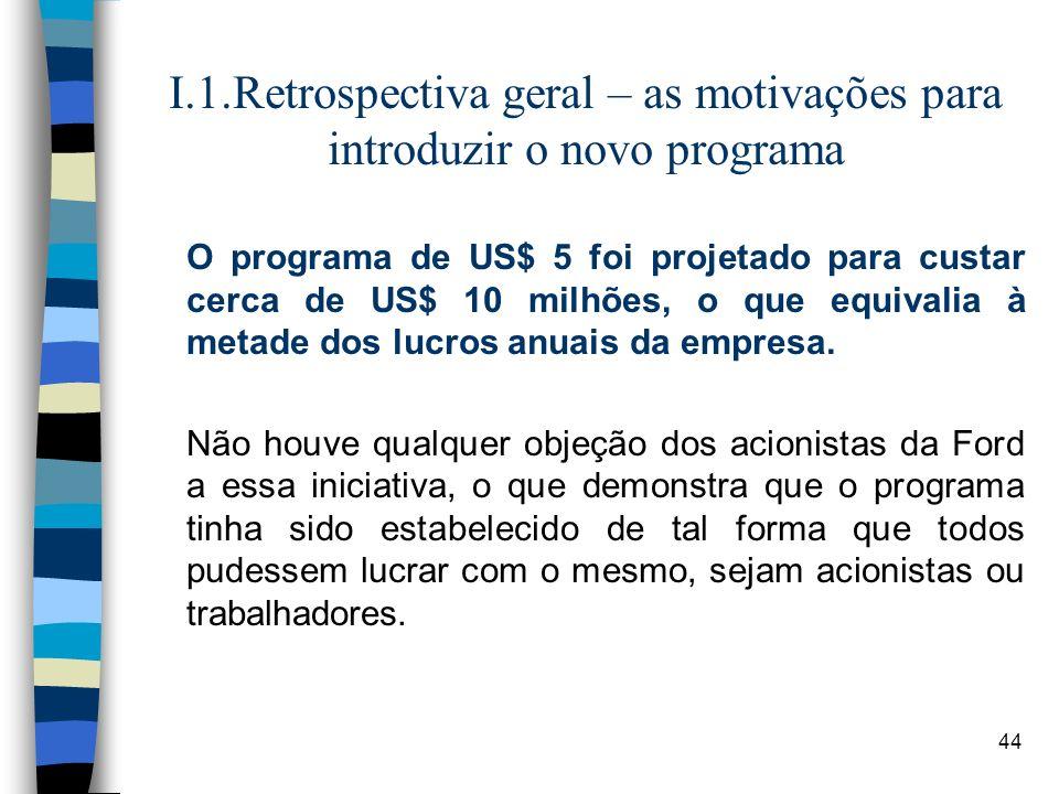44 I.1.Retrospectiva geral – as motivações para introduzir o novo programa O programa de US$ 5 foi projetado para custar cerca de US$ 10 milhões, o qu