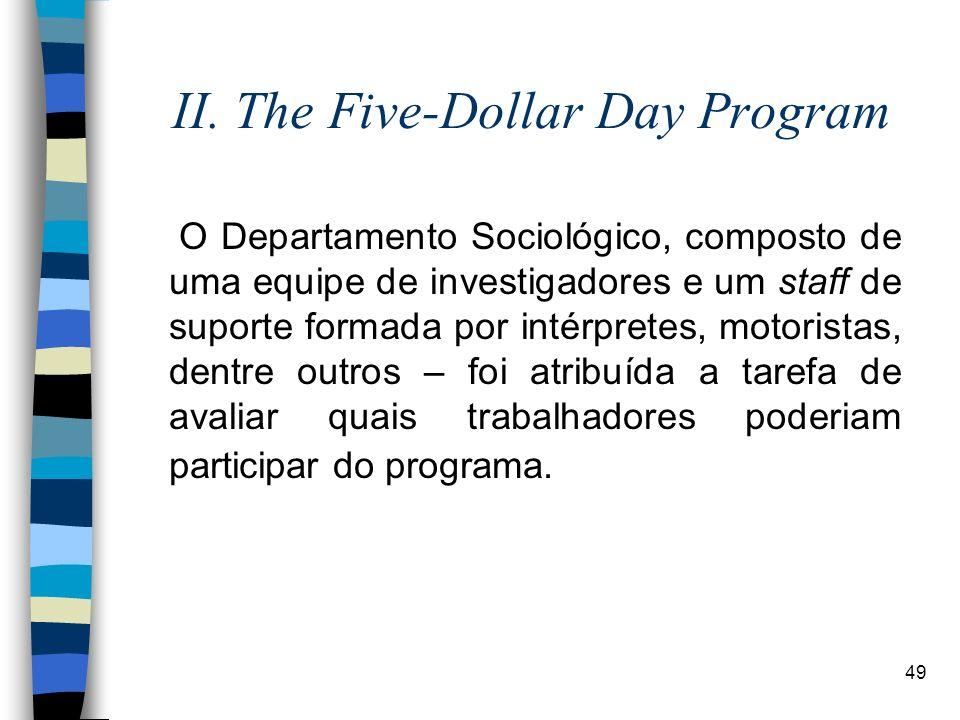 49 II. The Five-Dollar Day Program O Departamento Sociológico, composto de uma equipe de investigadores e um staff de suporte formada por intérpretes,