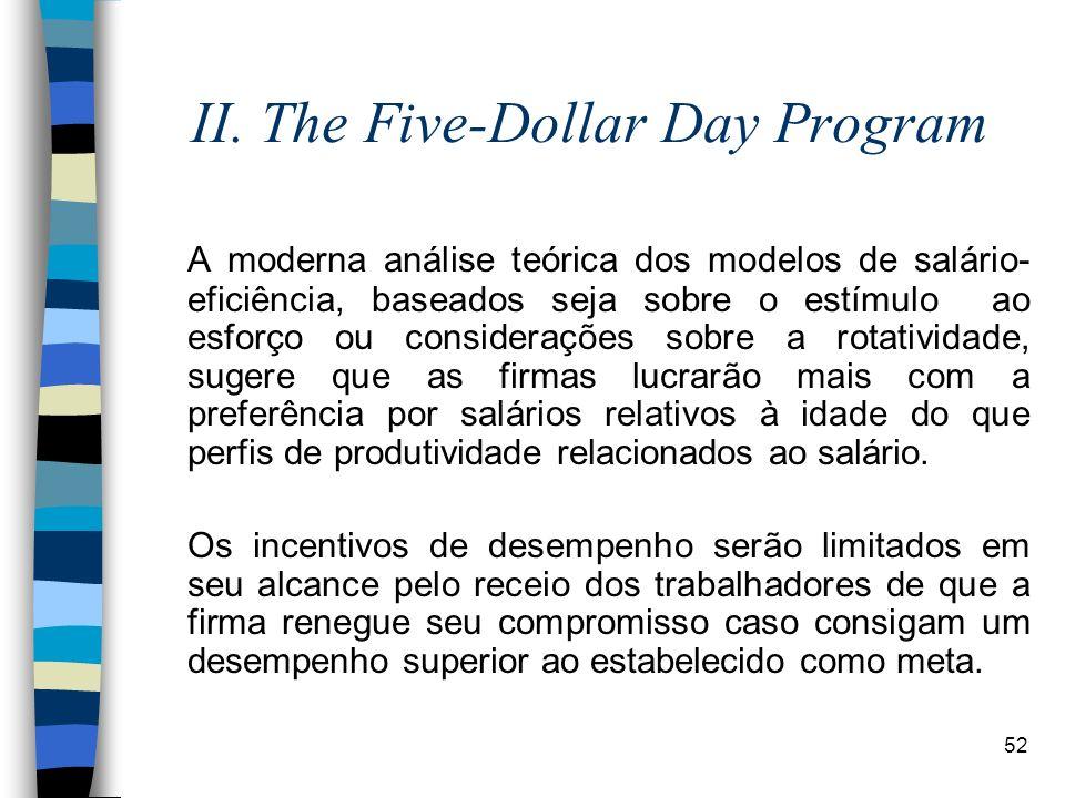 52 II. The Five-Dollar Day Program A moderna análise teórica dos modelos de salário- eficiência, baseados seja sobre o estímulo ao esforço ou consider