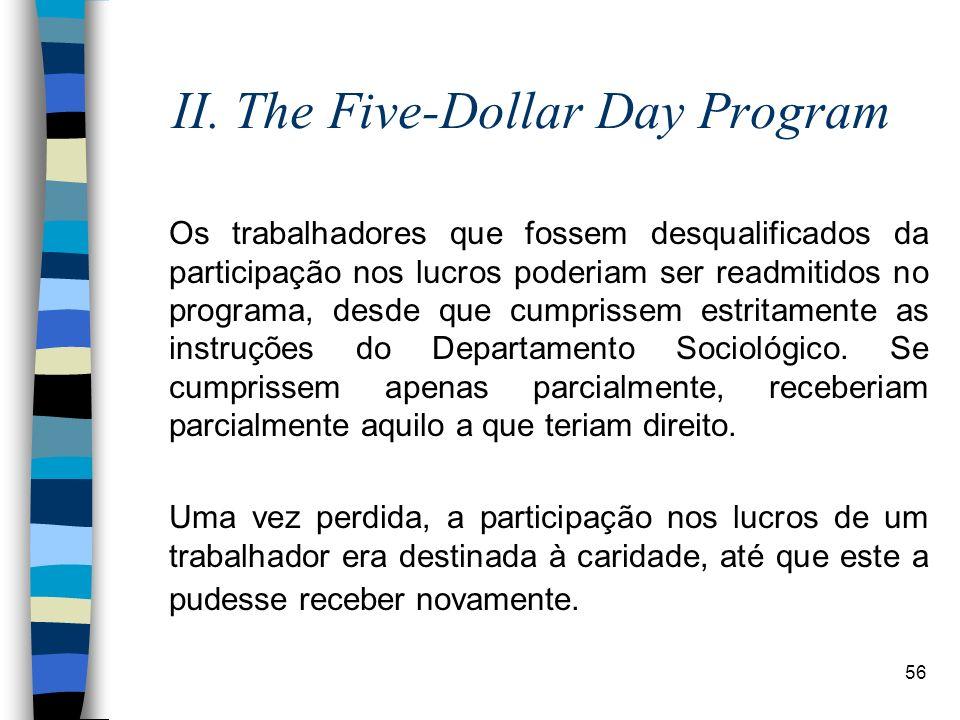 56 II. The Five-Dollar Day Program Os trabalhadores que fossem desqualificados da participação nos lucros poderiam ser readmitidos no programa, desde
