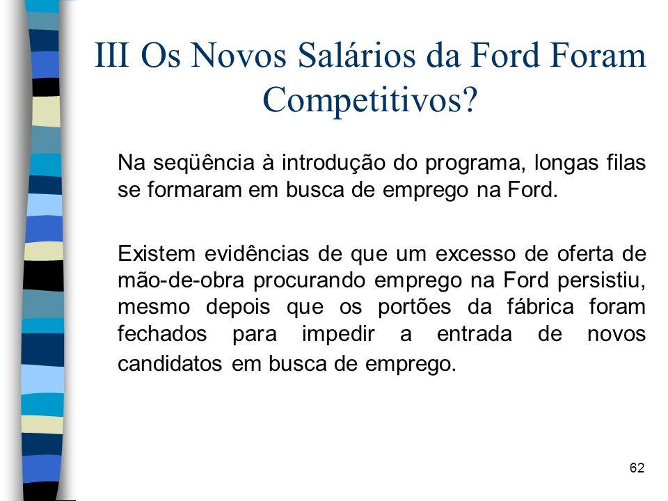 62 III Os Novos Salários da Ford Foram Competitivos? Na seqüência à introdução do programa, longas filas se formaram em busca de emprego na Ford. Exis