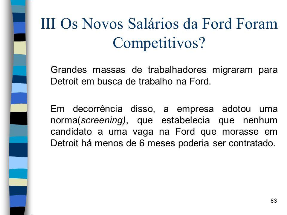 63 III Os Novos Salários da Ford Foram Competitivos? Grandes massas de trabalhadores migraram para Detroit em busca de trabalho na Ford. Em decorrênci