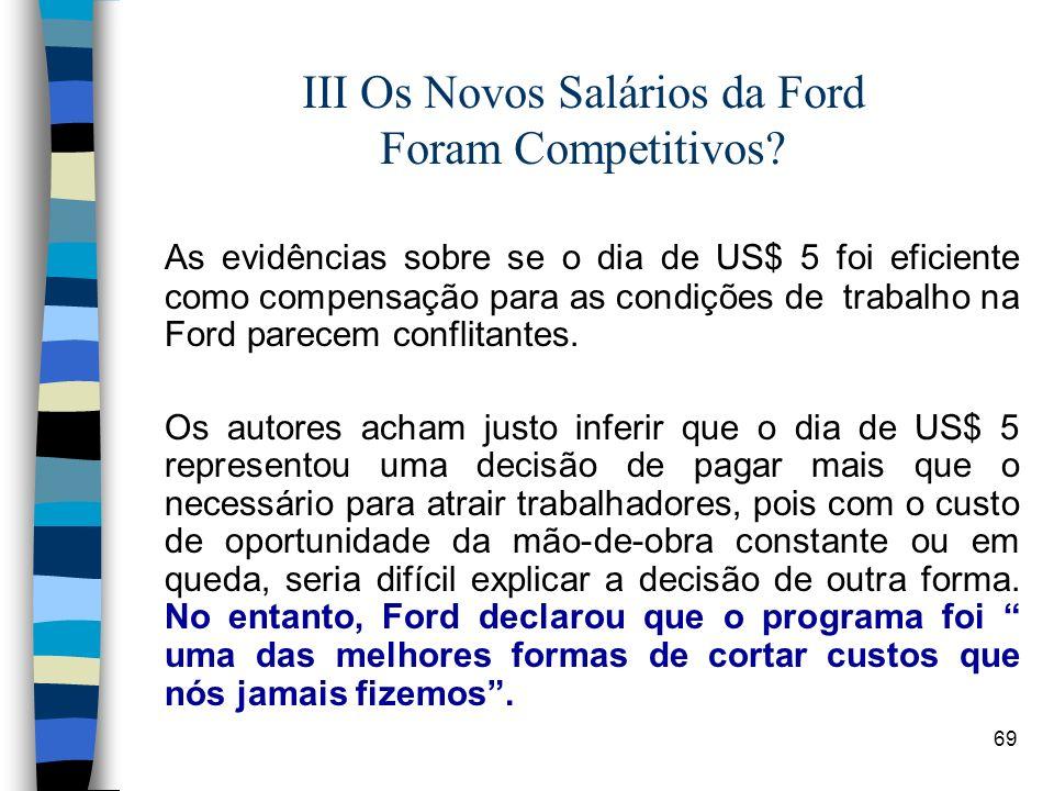 69 III Os Novos Salários da Ford Foram Competitivos? As evidências sobre se o dia de US$ 5 foi eficiente como compensação para as condições de trabalh