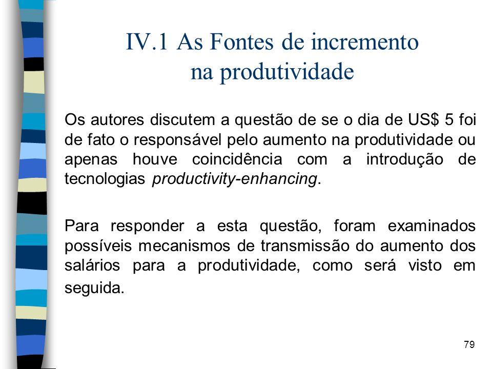 79 IV.1 As Fontes de incremento na produtividade Os autores discutem a questão de se o dia de US$ 5 foi de fato o responsável pelo aumento na produtiv
