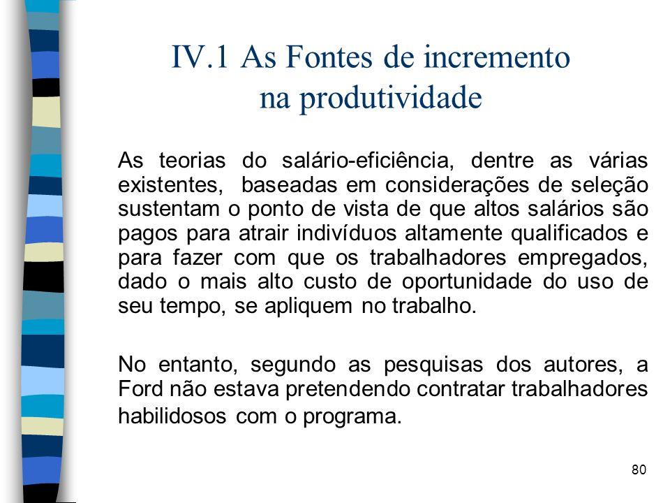 80 IV.1 As Fontes de incremento na produtividade As teorias do salário-eficiência, dentre as várias existentes, baseadas em considerações de seleção s
