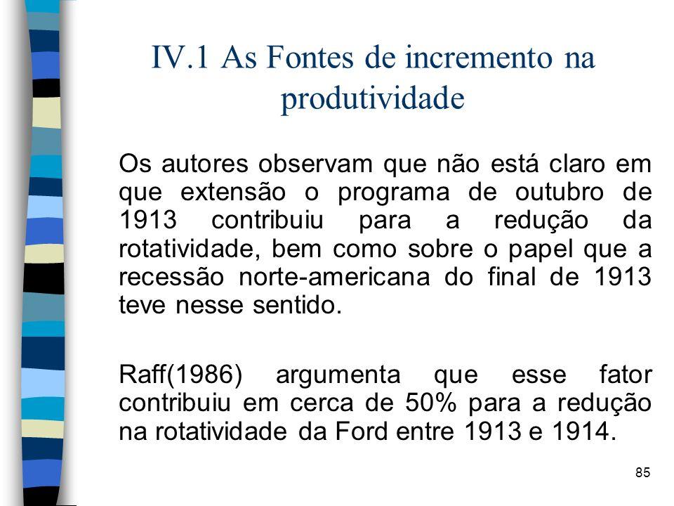 85 IV.1 As Fontes de incremento na produtividade Os autores observam que não está claro em que extensão o programa de outubro de 1913 contribuiu para