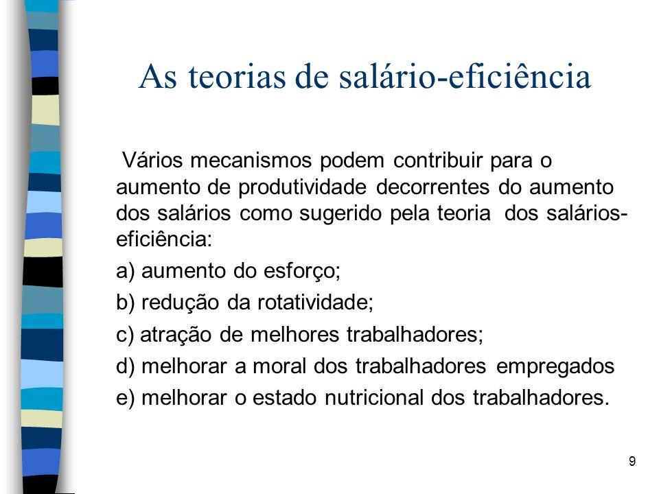 9 As teorias de salário-eficiência Vários mecanismos podem contribuir para o aumento de produtividade decorrentes do aumento dos salários como sugerid