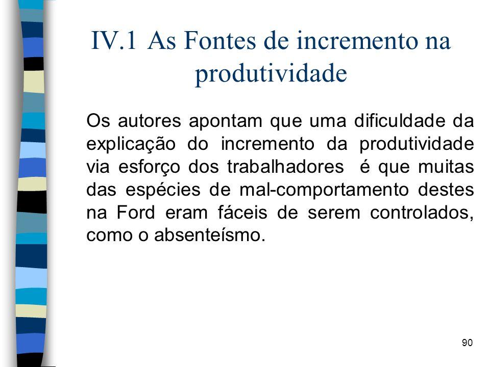 90 IV.1 As Fontes de incremento na produtividade Os autores apontam que uma dificuldade da explicação do incremento da produtividade via esforço dos t