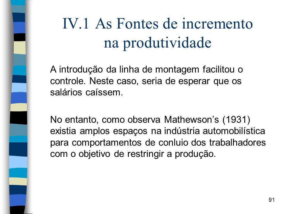 91 IV.1 As Fontes de incremento na produtividade A introdução da linha de montagem facilitou o controle. Neste caso, seria de esperar que os salários