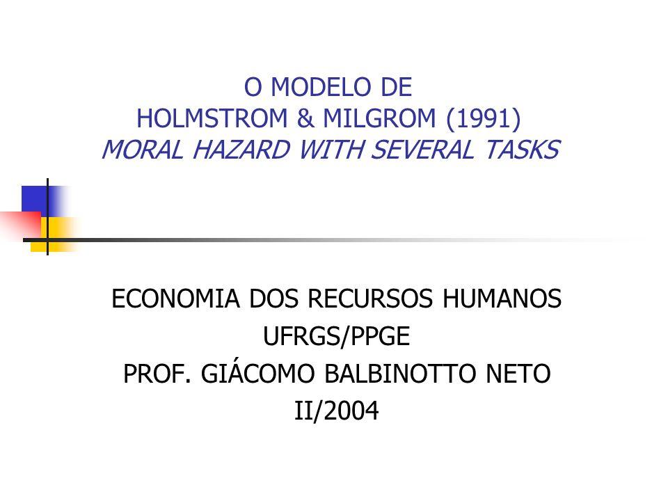 12 O Modelo de H & M (1991) e o tipo de tarefas executadas pelo agente É possível que para um contrato ótimo seja estabelecido que a solução mais conveniente seja não dar nenhum incentivo para o agente.
