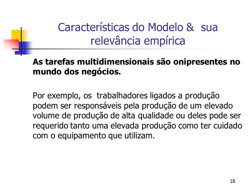 16 Características do Modelo & sua relevância empírica As tarefas multidimensionais são onipresentes no mundo dos negócios.