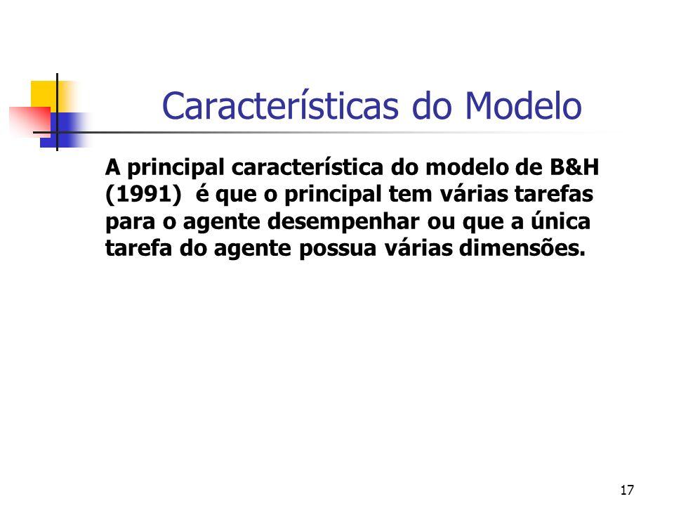 17 Características do Modelo A principal característica do modelo de B&H (1991) é que o principal tem várias tarefas para o agente desempenhar ou que a única tarefa do agente possua várias dimensões.