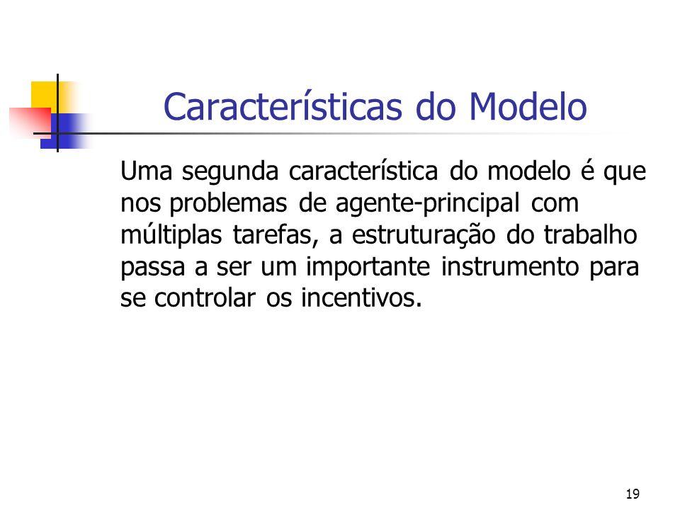 19 Características do Modelo Uma segunda característica do modelo é que nos problemas de agente-principal com múltiplas tarefas, a estruturação do trabalho passa a ser um importante instrumento para se controlar os incentivos.