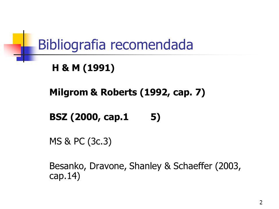 2 Bibliografia recomendada H & M (1991) Milgrom & Roberts (1992, cap.