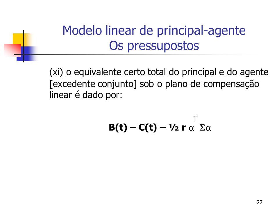 27 Modelo linear de principal-agente Os pressupostos (xi) o equivalente certo total do principal e do agente [excedente conjunto] sob o plano de compensação linear é dado por: T B(t) – C(t) – ½ r