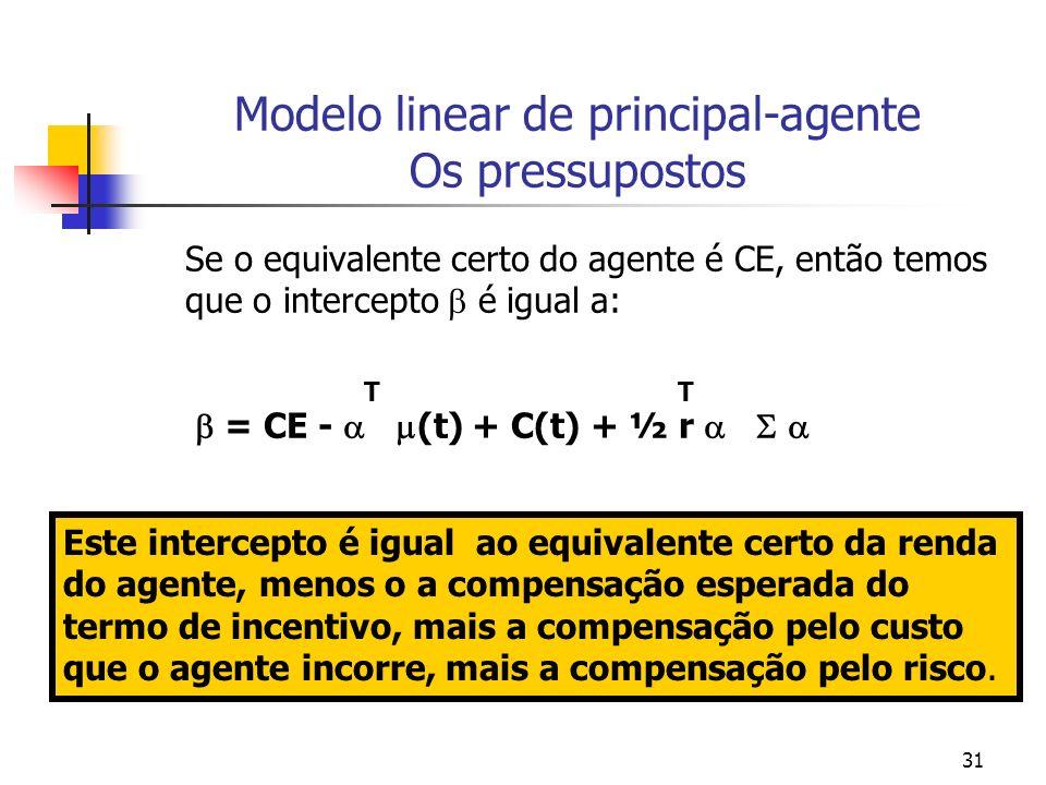 31 Modelo linear de principal-agente Os pressupostos Se o equivalente certo do agente é CE, então temos que o intercepto é igual a: T T = CE - (t) + C(t) + ½ r Este intercepto é igual ao equivalente certo da renda do agente, menos o a compensação esperada do termo de incentivo, mais a compensação pelo custo que o agente incorre, mais a compensação pelo risco.