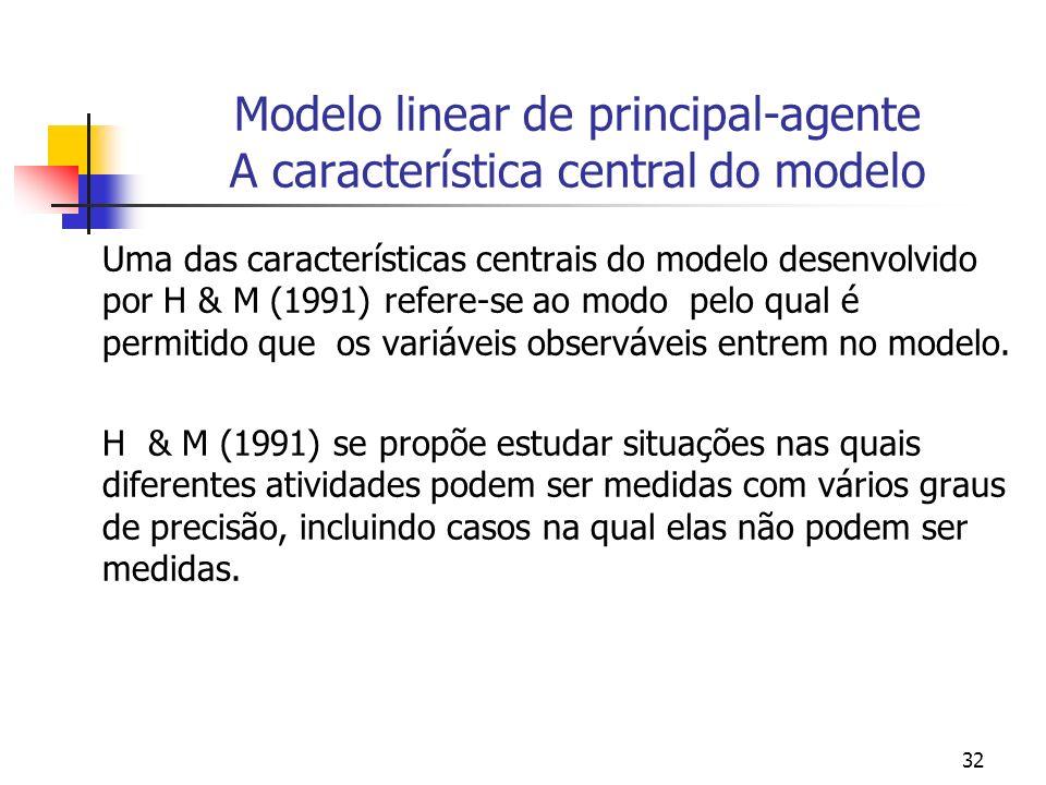 32 Modelo linear de principal-agente A característica central do modelo Uma das características centrais do modelo desenvolvido por H & M (1991) refere-se ao modo pelo qual é permitido que os variáveis observáveis entrem no modelo.