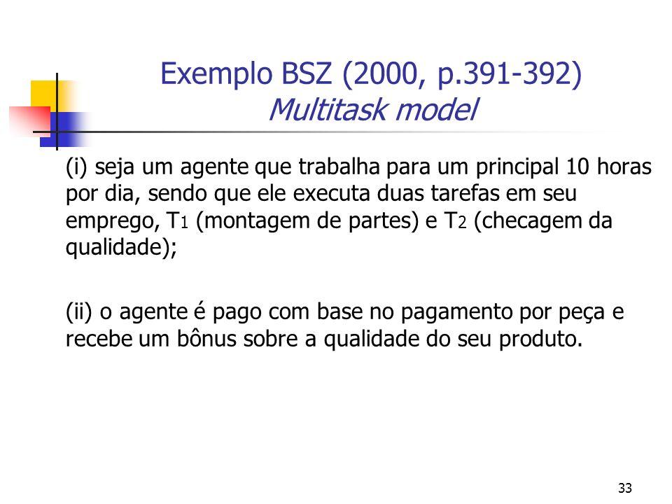 33 Exemplo BSZ (2000, p.391-392) Multitask model (i) seja um agente que trabalha para um principal 10 horas por dia, sendo que ele executa duas tarefas em seu emprego, T 1 (montagem de partes) e T 2 (checagem da qualidade); (ii) o agente é pago com base no pagamento por peça e recebe um bônus sobre a qualidade do seu produto.
