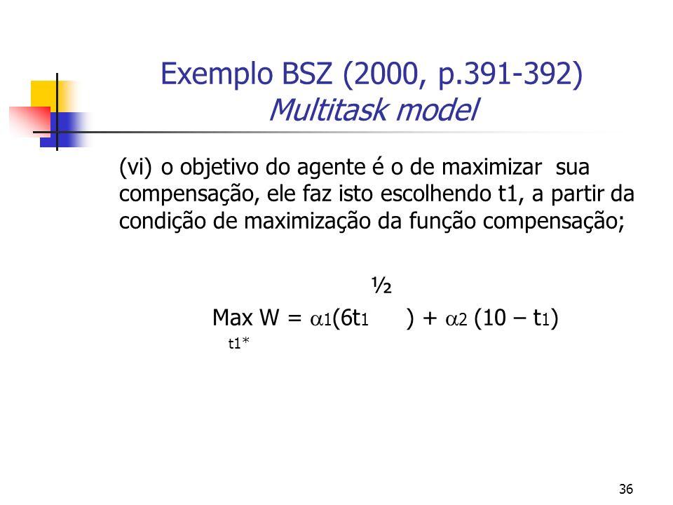 36 Exemplo BSZ (2000, p.391-392) Multitask model (vi)o objetivo do agente é o de maximizar sua compensação, ele faz isto escolhendo t1, a partir da condição de maximização da função compensação; ½ Max W = 1 (6t 1 ) + 2 (10 – t 1 ) t1*