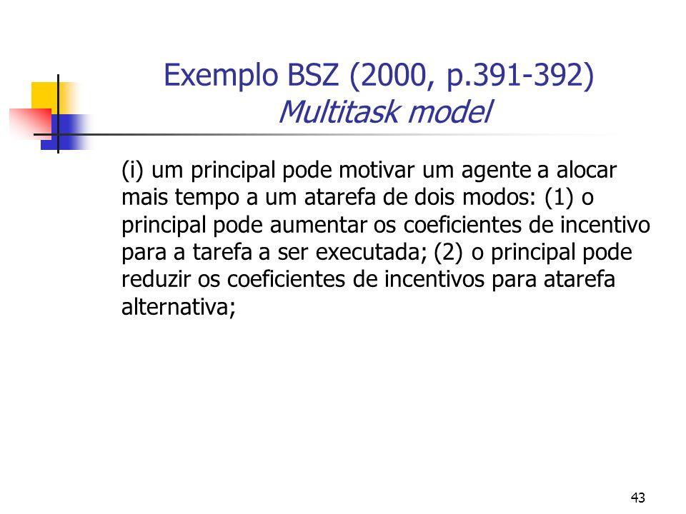 43 Exemplo BSZ (2000, p.391-392) Multitask model (i) um principal pode motivar um agente a alocar mais tempo a um atarefa de dois modos: (1) o principal pode aumentar os coeficientes de incentivo para a tarefa a ser executada; (2) o principal pode reduzir os coeficientes de incentivos para atarefa alternativa;