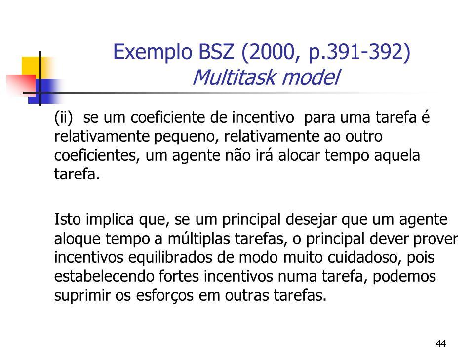 44 Exemplo BSZ (2000, p.391-392) Multitask model (ii) se um coeficiente de incentivo para uma tarefa é relativamente pequeno, relativamente ao outro coeficientes, um agente não irá alocar tempo aquela tarefa.