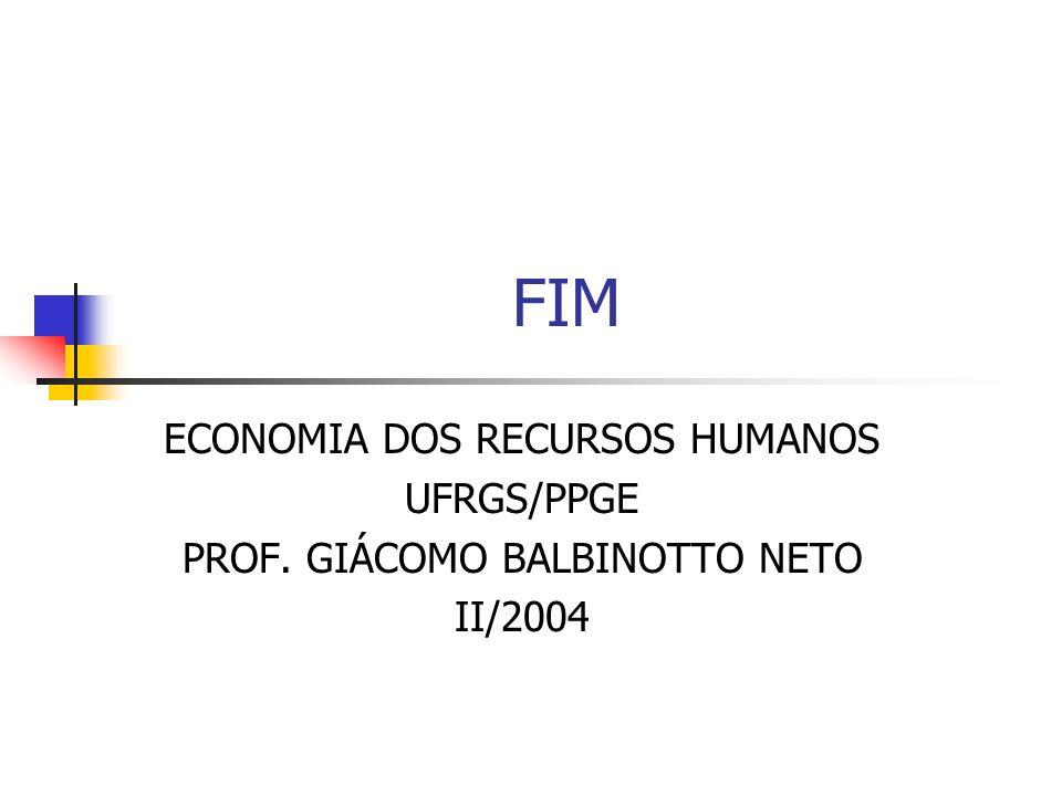 FIM ECONOMIA DOS RECURSOS HUMANOS UFRGS/PPGE PROF. GIÁCOMO BALBINOTTO NETO II/2004
