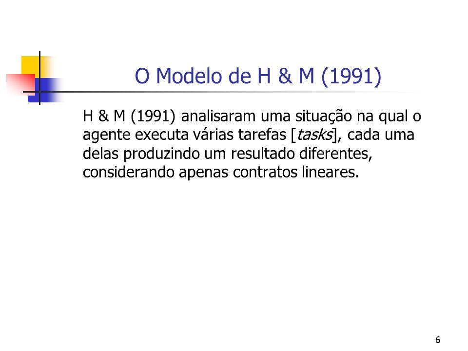 6 O Modelo de H & M (1991) H & M (1991) analisaram uma situação na qual o agente executa várias tarefas [tasks], cada uma delas produzindo um resultado diferentes, considerando apenas contratos lineares.