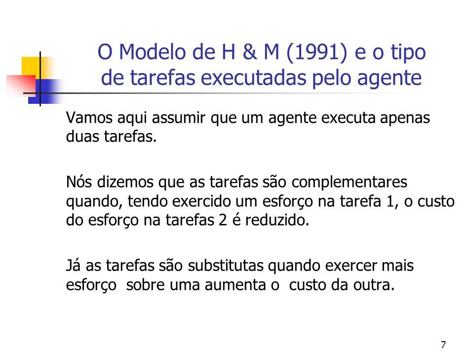 38 Exemplo BSZ (2000, p.391-392) Multitask model Se os benefícios marginais não forem iguais, é melhor para o agente alocar mais tempo para a atividade com um elevado valor e menos tempo a atividade com menor valor.