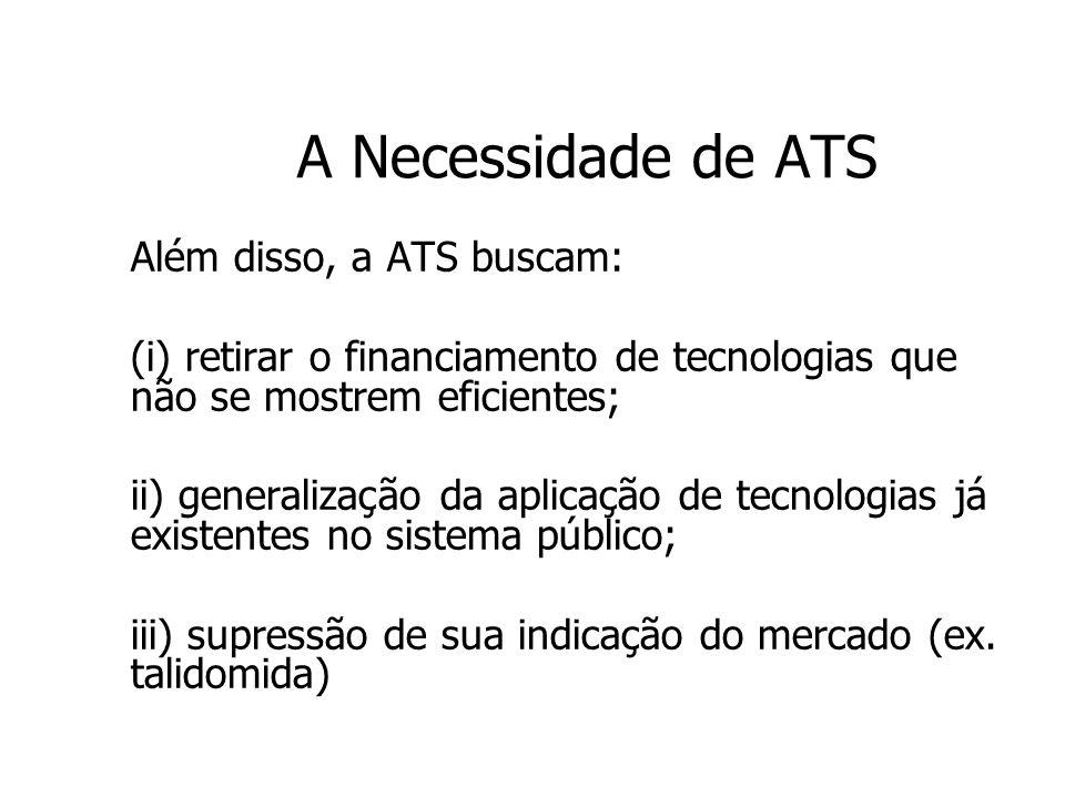 A Necessidade de ATS Além disso, a ATS buscam: (i) retirar o financiamento de tecnologias que não se mostrem eficientes; ii) generalização da aplicaçã