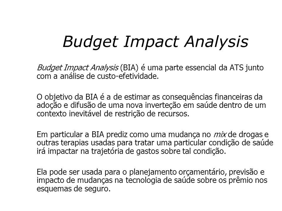 Budget Impact Analysis Budget Impact Analysis (BIA) é uma parte essencial da ATS junto com a análise de custo-efetividade. O objetivo da BIA é a de es