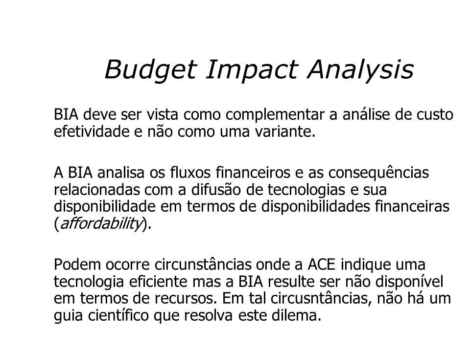 Budget Impact Analysis BIA deve ser vista como complementar a análise de custo efetividade e não como uma variante. A BIA analisa os fluxos financeiro